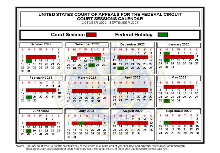 Court sessions calendar for October 2022 through September 2023